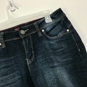 YMI mid waist super dark wash jeans size 10